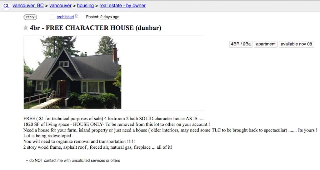 craigslist-free-house