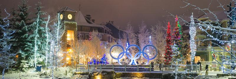 Fresh snow and festive lights in Whistler village