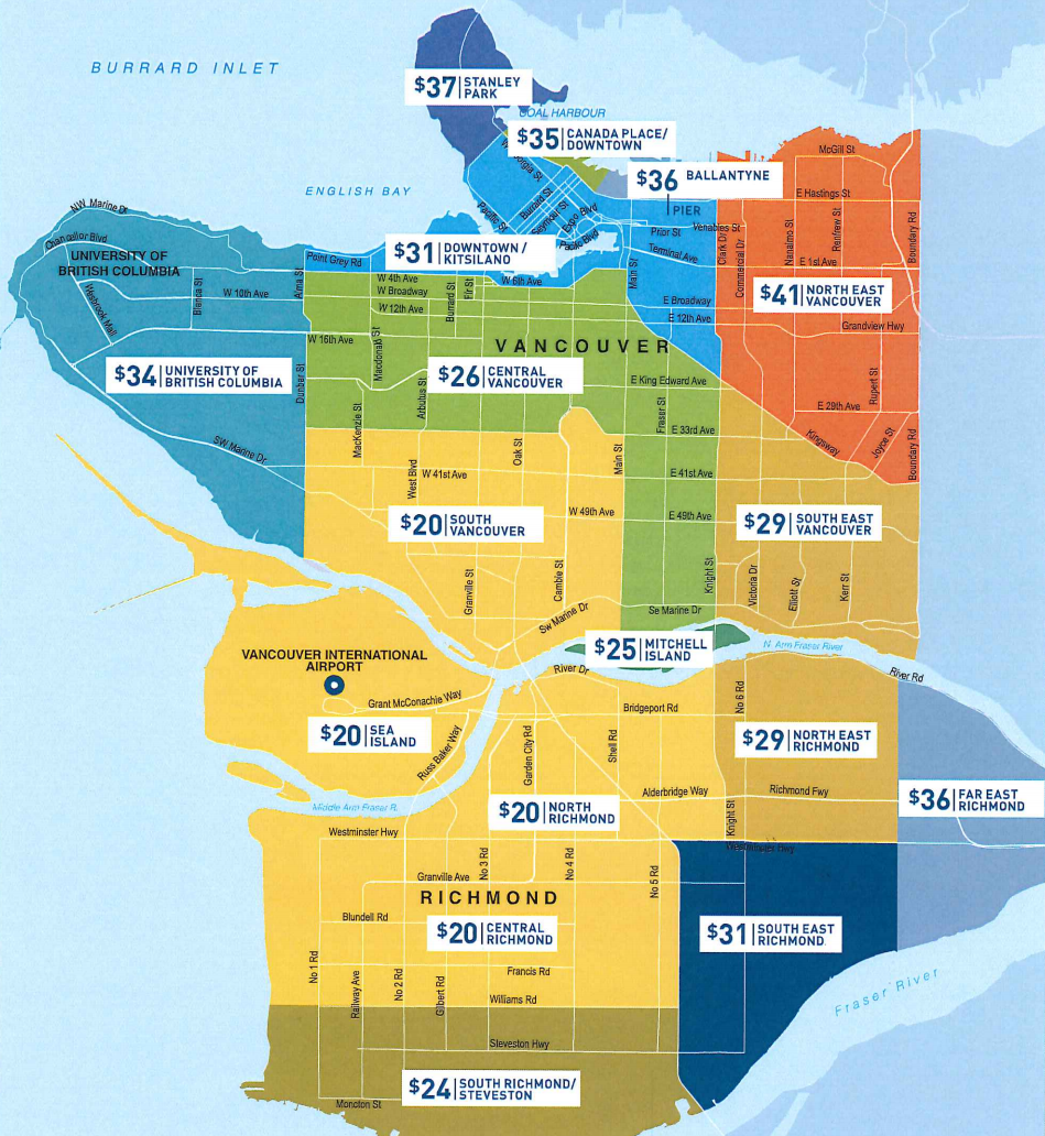 yvr airport taxi rates vancouver