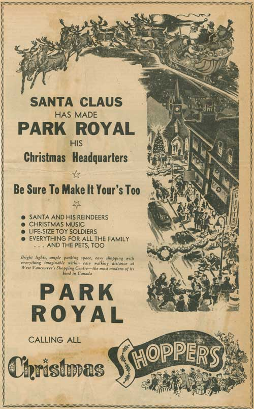 Advertisement for Christmas at Park Royal, Dec. 1952. Photo via West Vancouver Archives.
