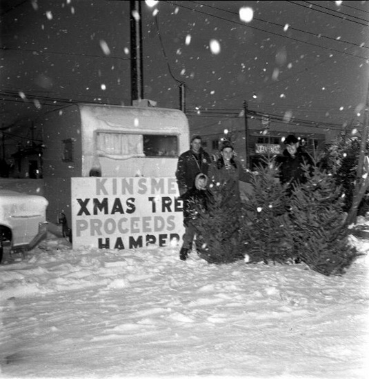 Kinsmen Christmas Tree Sale in Newton, Dec. 24, 1964. Photo via Surrey Archives.