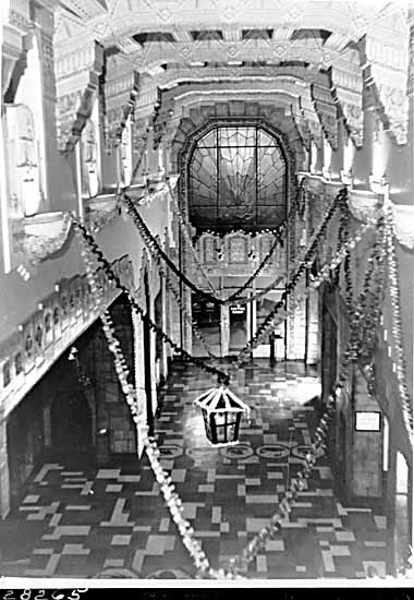 Marine Building Interior Decorated for Christmas, date unknown. Photo via Vancouver Public Library.