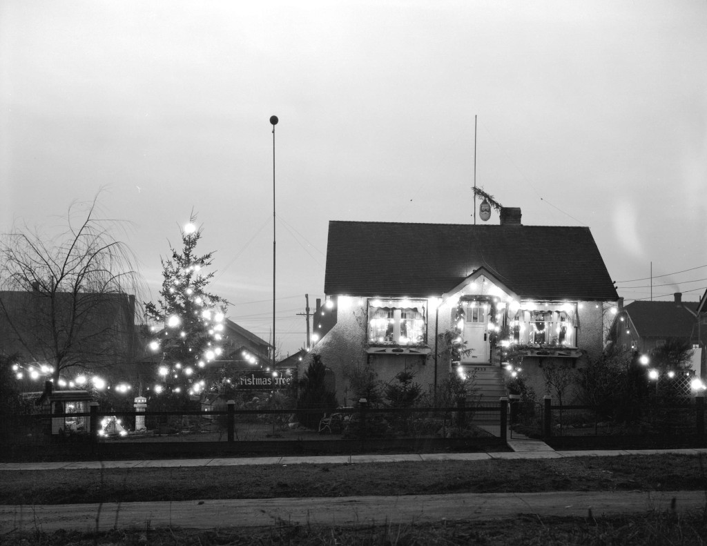 Robert Corbin's Electrically Decorated House at 7925 Shaughnessy Street, Jan. 6, 1934. Photo via Vancouver Archives.