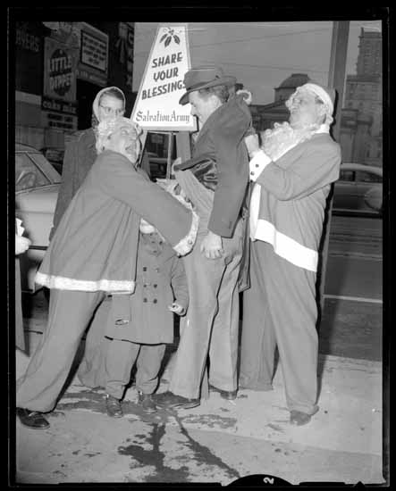 Salvation Army cheer pot novelty picture, Dec. 1950s. Photo via Vancouver Public Library.