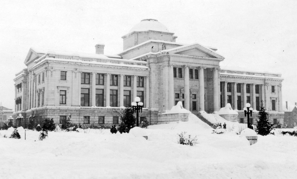 The courthouse covered in snow
