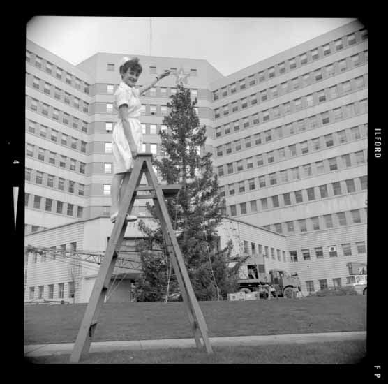 Vancouver General Hospital Christmas Tree, Dec. 13, 1965. Photo via Vancouver Public Library.