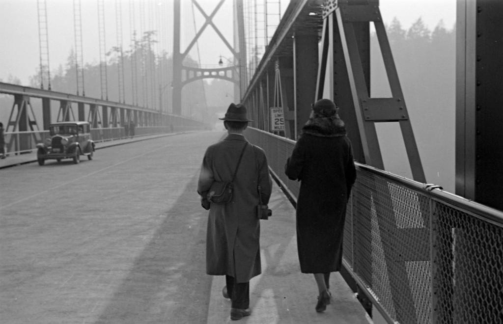 Walking across Lions Gate Bridge