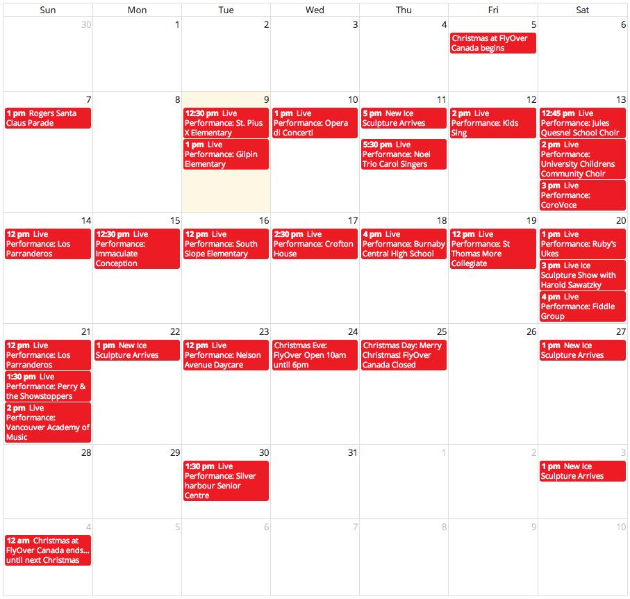 flyover canada christmas schedule