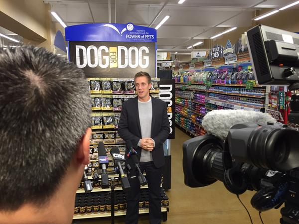 Founder Rocky Kanaka speaks to reporters at the PetSmart event.