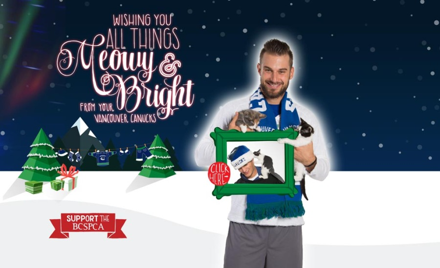 The Vancouver Canucks 2014 Christmas card features its most popular players cuddling cats. (Canucks)