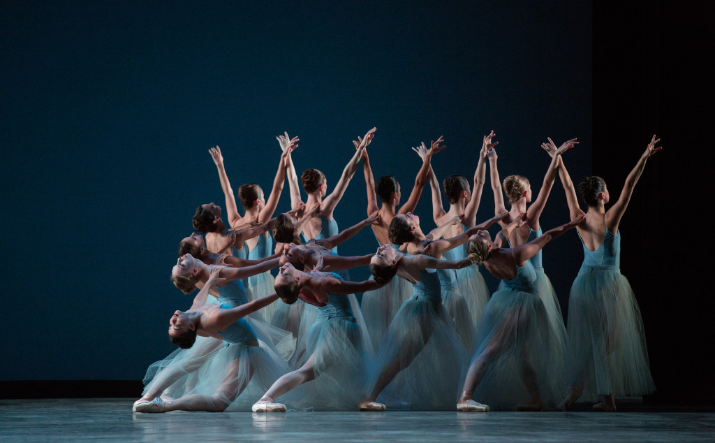 Miami City Ballet dancers in Serenade. Choreography by George Balanchine © The George Balanchine Trust. Photo © Daniel Azoulay.  2 4x8
