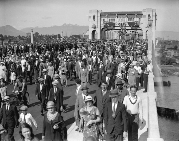 Opening Day of the Burrard Bridge, July 1, 1939, via Vancouver Archives.