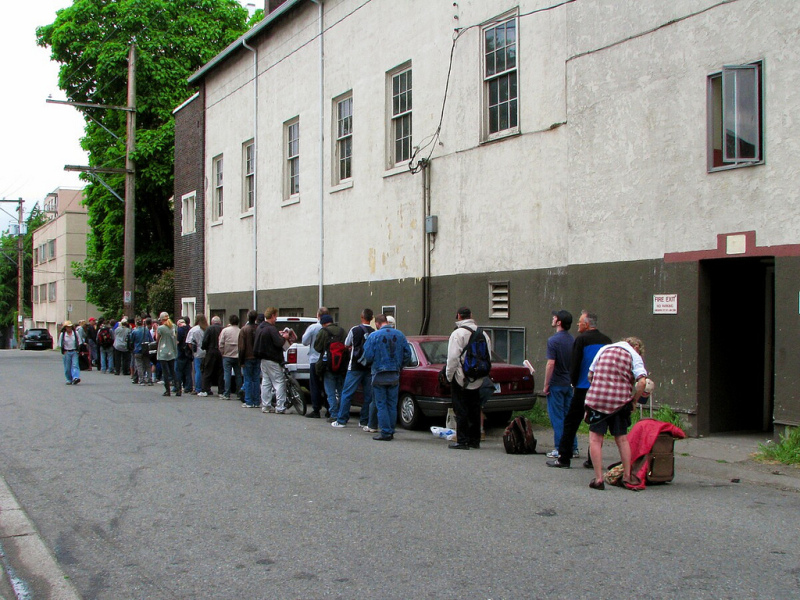 People lined up at the West End Food Bank (April 2011)