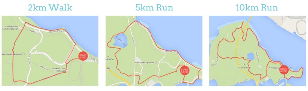 The race routes in Stanley Park (RunGo).