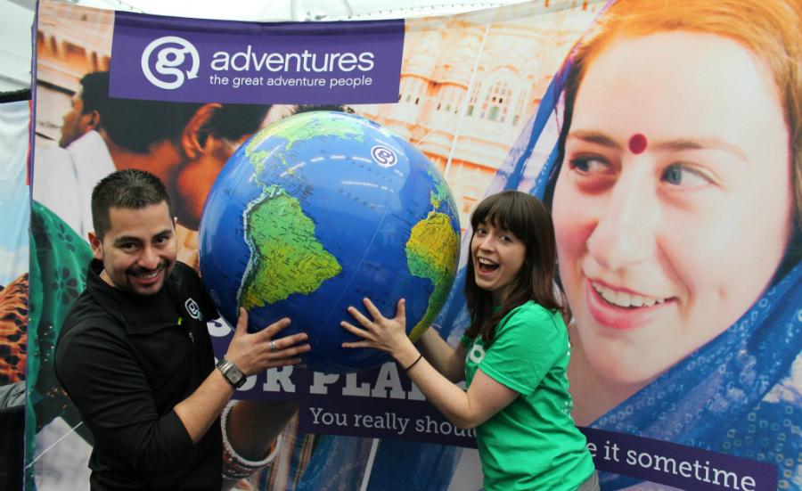 gadventures globe at YVR Expo
