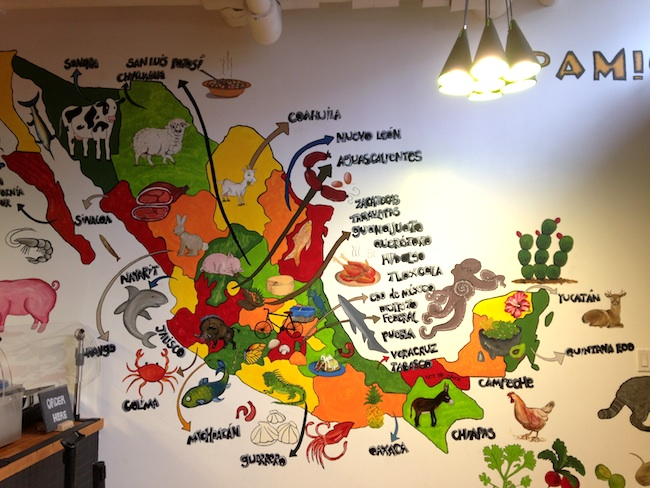 A fun map of Mexico and the culinary specialties of each region can entertain and informer customers while they wait or dine (Lindsay William-Ross/Vancity Buzz)