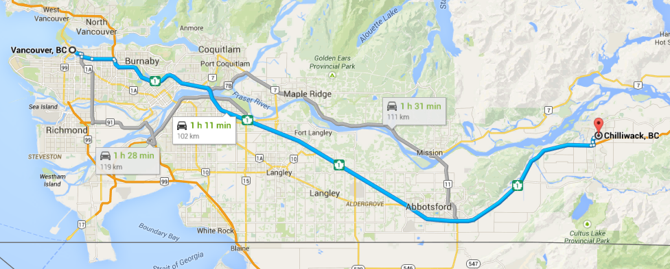 vancouver to chilliwack map