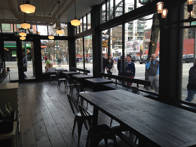 A communal table at the back end of Prado Gastown (Lindsay William-Ross/Vancity Buzz)