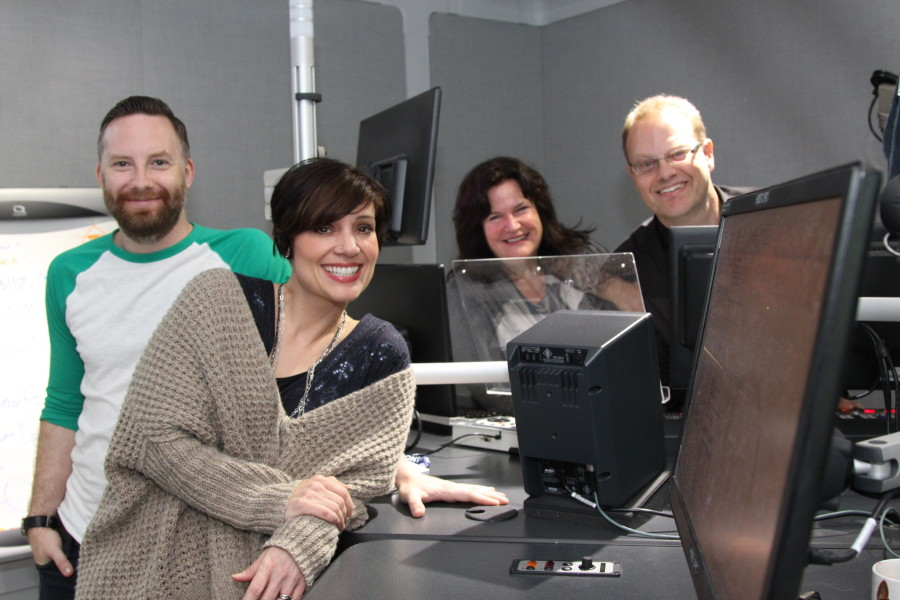 Nat, Drew, Erin and Scooter in the QMFM studios (Kenny Tai photo).