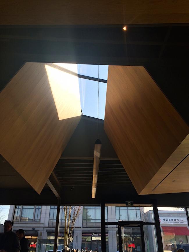 Skylight inside JJ Bean Cambie Village (Elizabeth Hammond/Vancity Buzz)