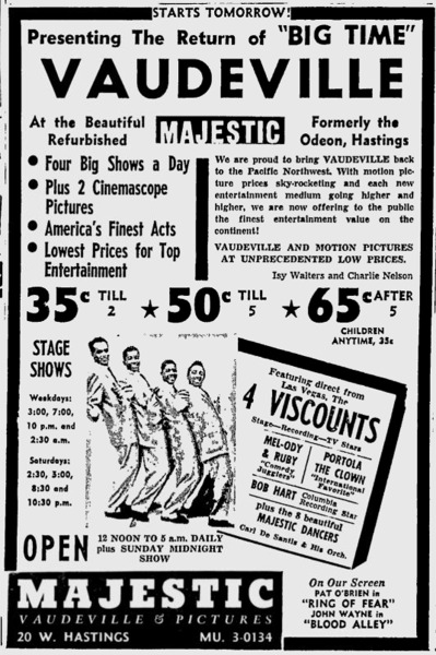 VCB - Majestic Vaudeville - 1958 - Vancouver Sun