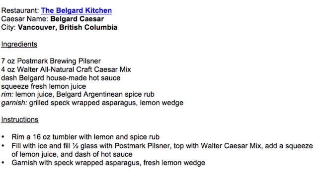 Recipe courtesy Walter Caesar/Belgard Kitchen