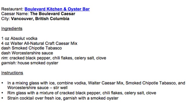 Recipe courtesy Walter Caesar/Boulevard Kitchen & Oyster Bar)