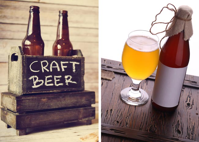 Photos: Craft beer and beer bottle with blank label via Shutterstock