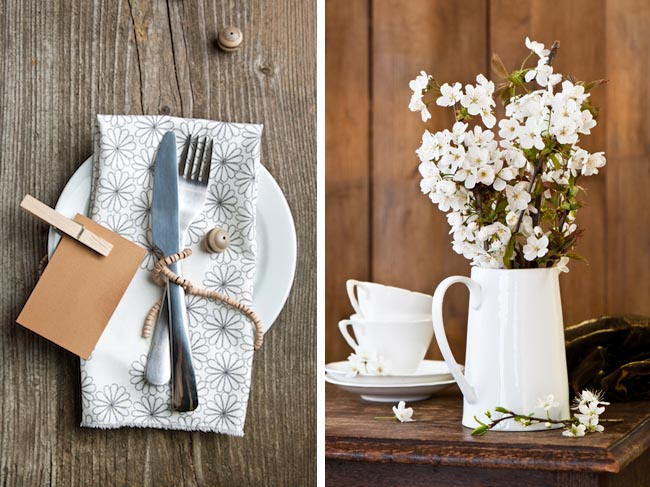 Photos: Rustic table (left) and Apple blossoms via Shutterstock