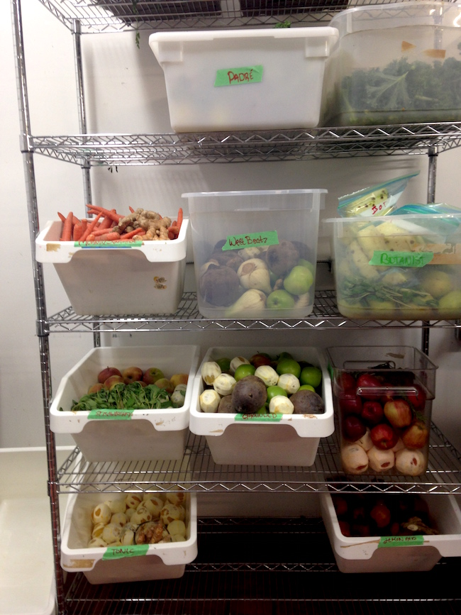 Fruits and vegetables sorted by recipe await juicing (Lindsay William-Ross/Vancity Buzz)