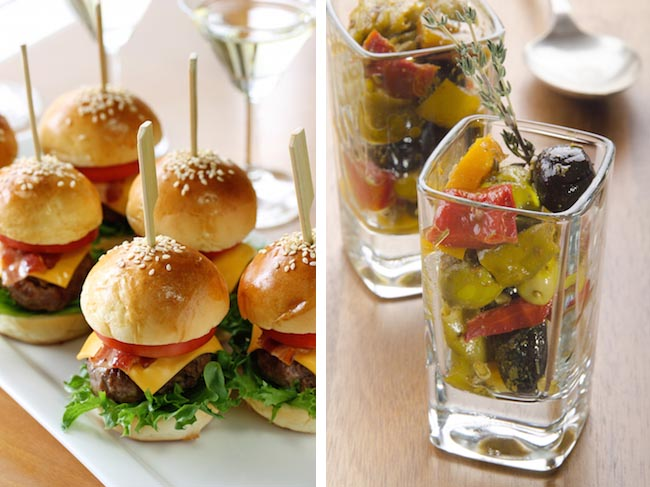 Photos: Mini burgers and salad in a shot glass via Shutterstock