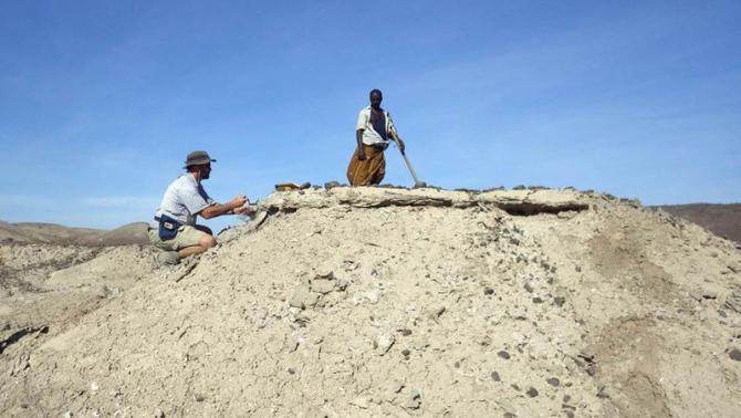 Dr. Chris Campisano (ASU) samples a tuff in the Ledi-Geraru project area