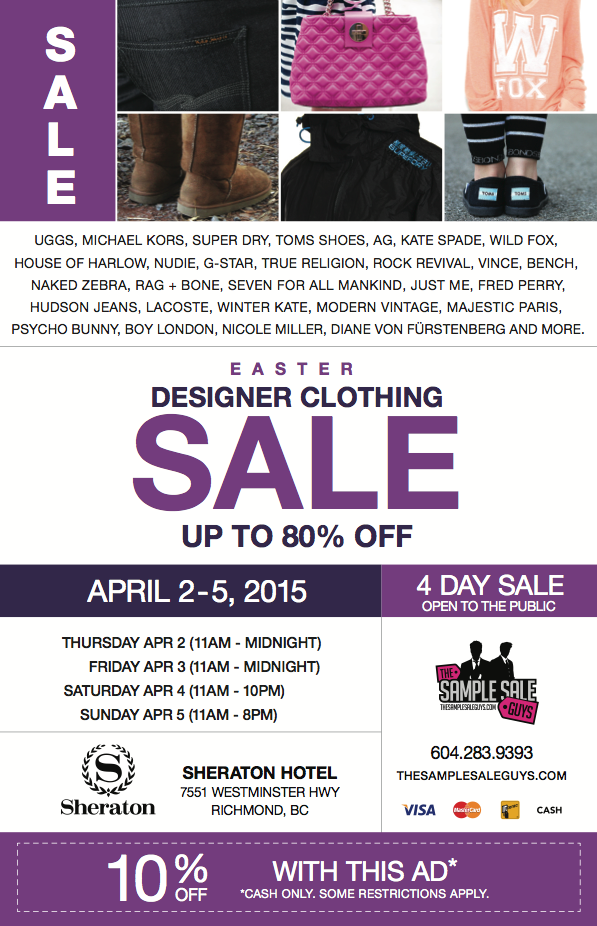 sample sale guys easter ad