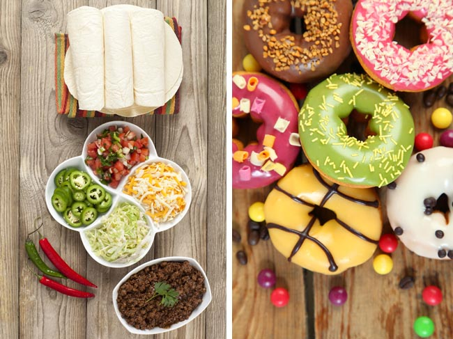 Photos: Taco ingredients and donuts via Shutterstock