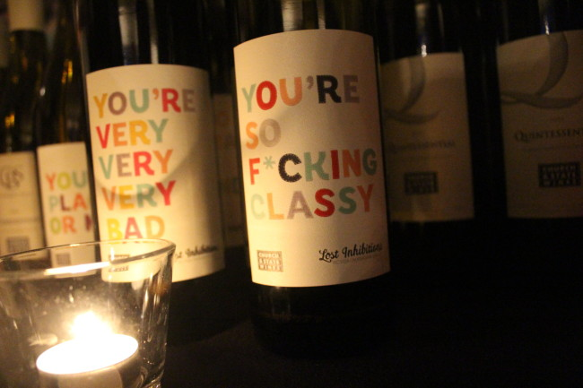 Cheeky wine labels from Church & State (Image: Natalie Segovia)