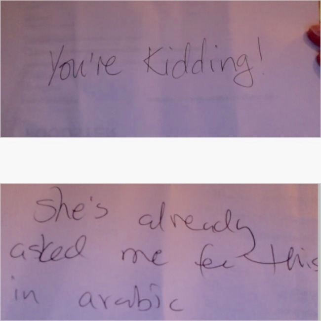 Top: Her answer Bottom: His answer