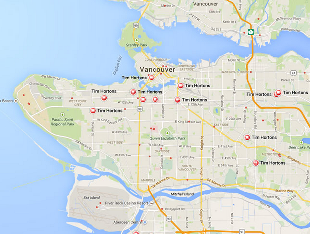 Tim Hortons locations in Vancouver