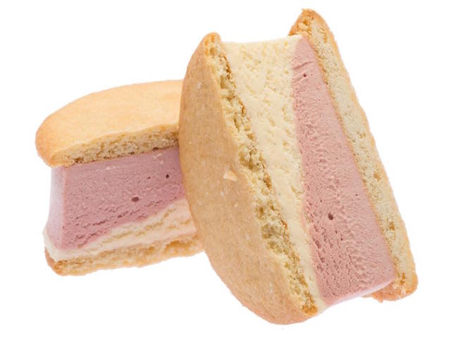 Strawberry & Tahitian vanilla ice creams on a vanilla sugar cookie (Beta5 Chocolates/Facebook)