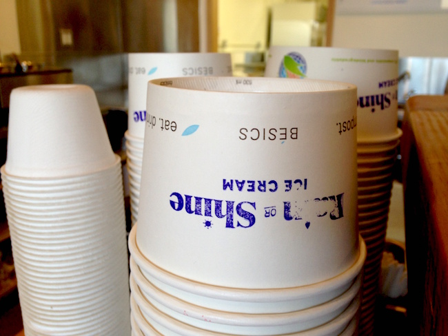 Cups ready to be filled with scoops of ice cream at Rain or Shine's new Cambie Village location (Lindsay William-Ross/Vancity Buzz)
