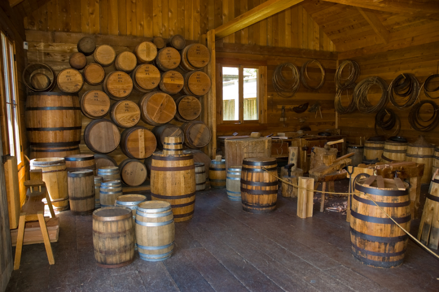 Barrel making in Fort Langley via Shutterstock