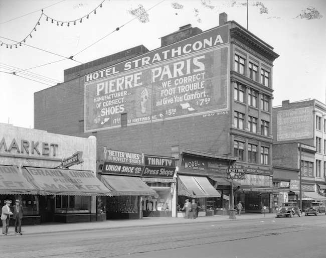 Pierre Paris and Hotel Strathcona building, 1936 (Photo by Stuart Thomson via Vancouver Archives)
