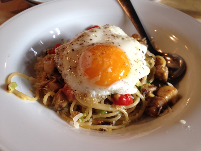 Spaghetti Carbonara at brunch (Lindsay William-Ross/Vancity Buzz)