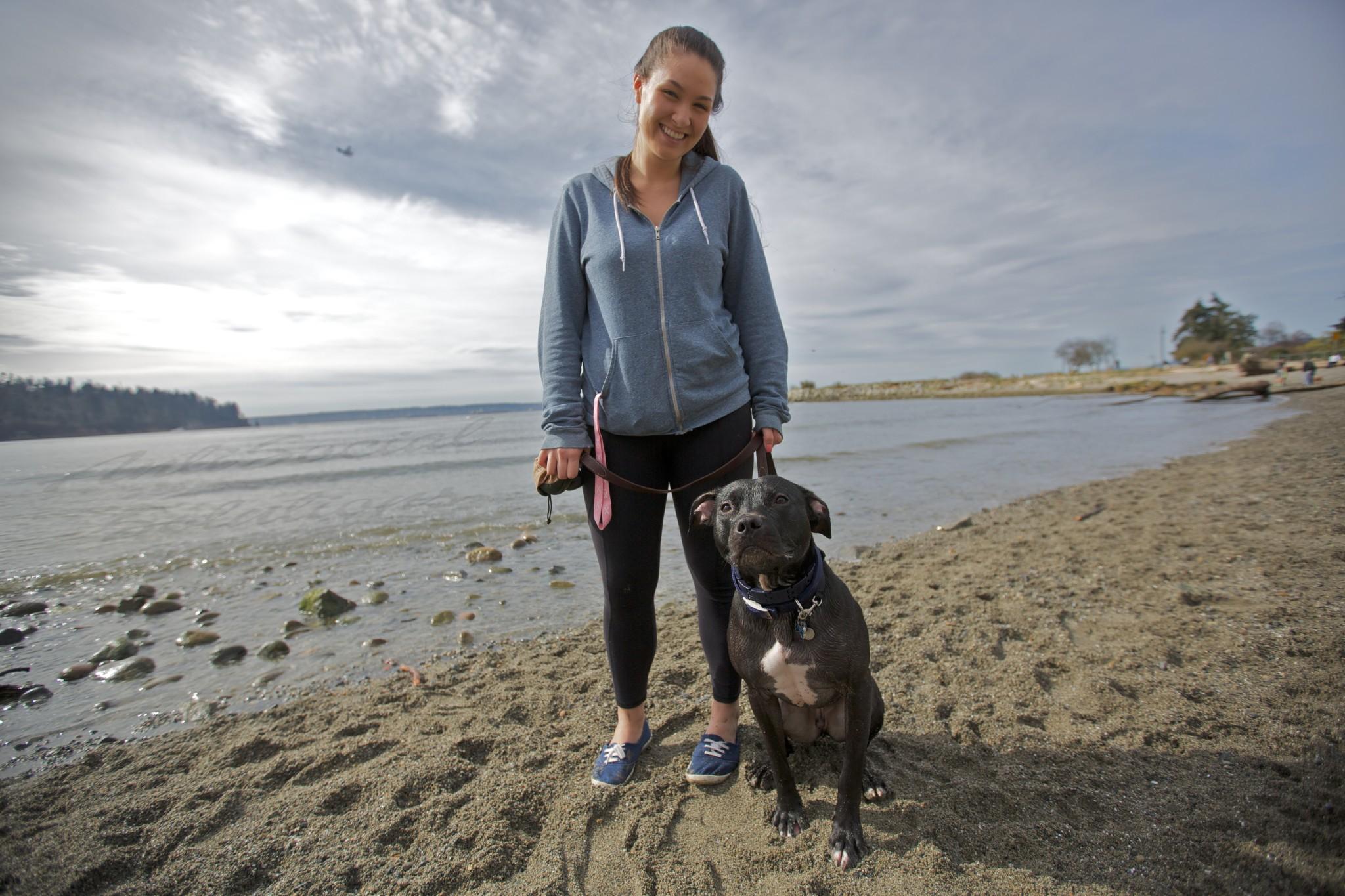 Katrina with Simba a Black pitbull.