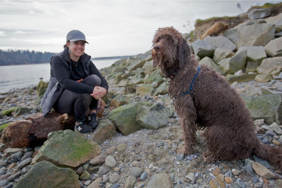 Lulu with Tito an Aussie Doodle.