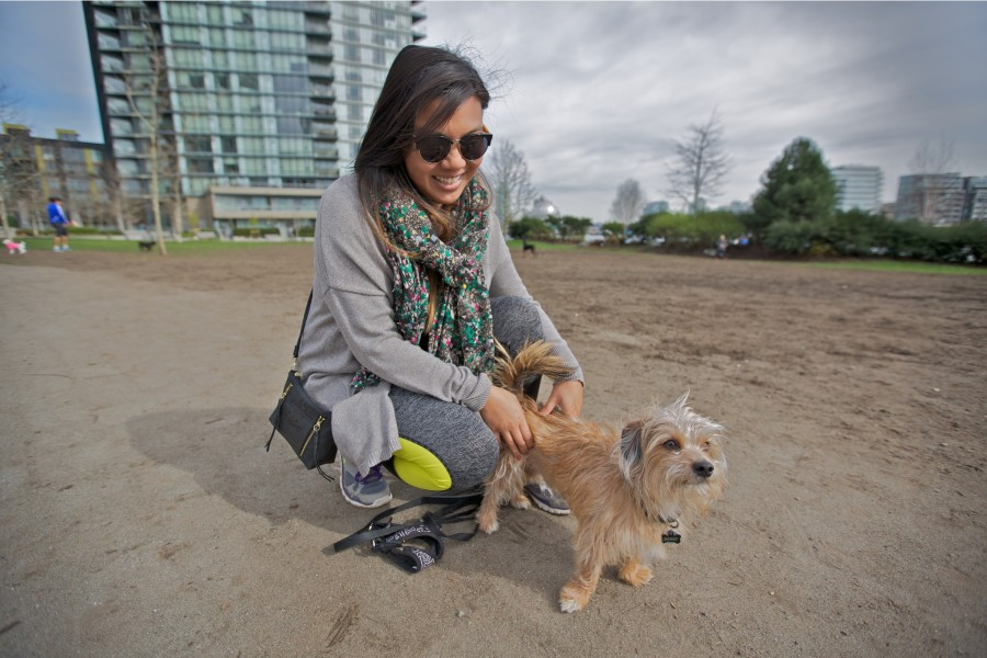 Rachel with Harry a Terrier Dachshund mix.