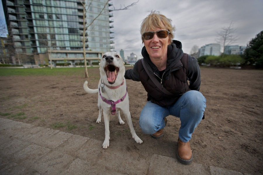 Sarah with Macy a Whippet cross.