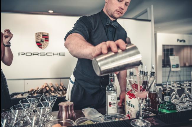 Bartender at Porsche Langley opening (image: Nima Zadrafi)