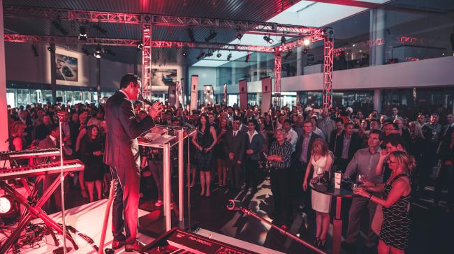 Addressing the crowd (image: Nima Zadrafi)