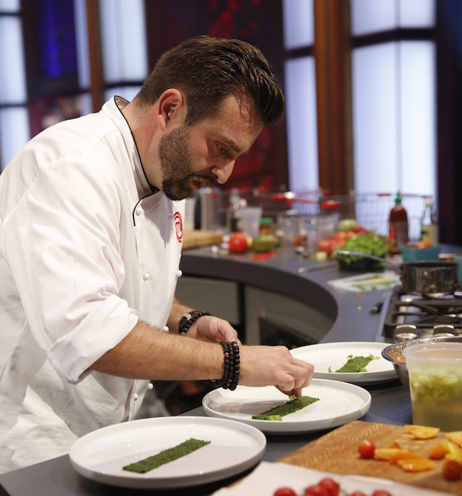 "David Jorge plates his appetizer in the finale of ""MasterChef Canada"" (CTV)"