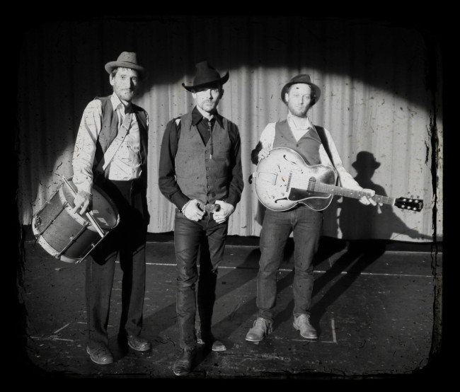 Jeff Gladstone (centre) and the Bad Ideas. Photo: Upintheair Theatre.